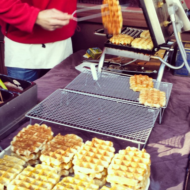 cooking waffles portobello