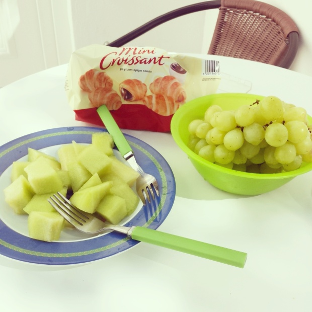melon-grapes-croissants-breakfasts